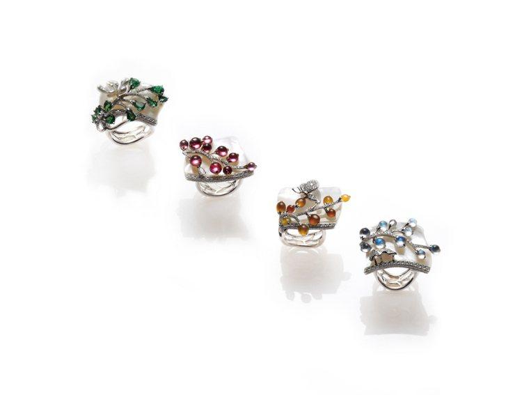 郁雯珠寶最新作品《四季如意》,以一整塊珠貝為底,做成春夏秋冬四只戒指,意象為四季...