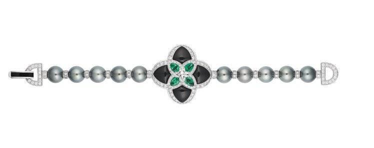 Hynose手鍊,白K金鑲嵌單顆重1.31克拉LV星形鑽石搭配祖母綠,黑色縞瑪瑙...