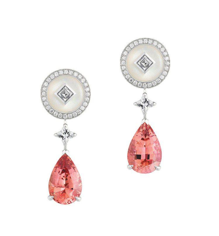 Talisman耳環,白K金鑲嵌2顆橘紅色拓帕石,搭配2顆LV星形鑽石、月光石與...