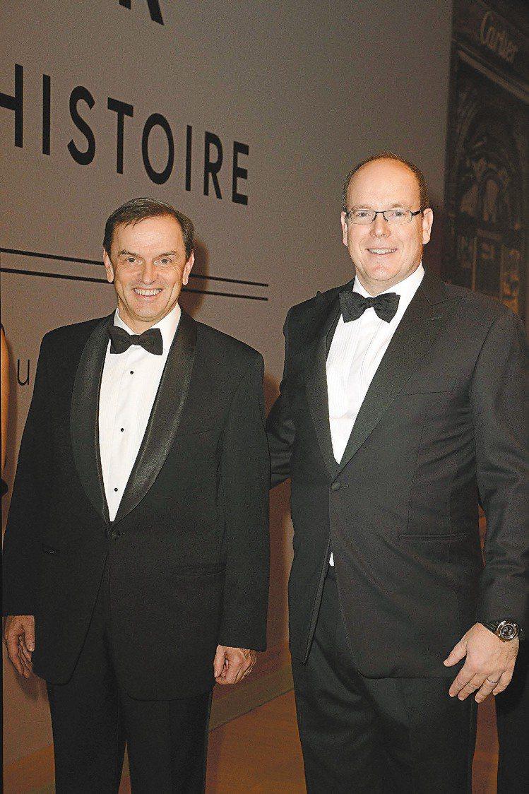 卡地亞全球總裁兼首席執行官Stanislas de Quercize(左)和摩納...