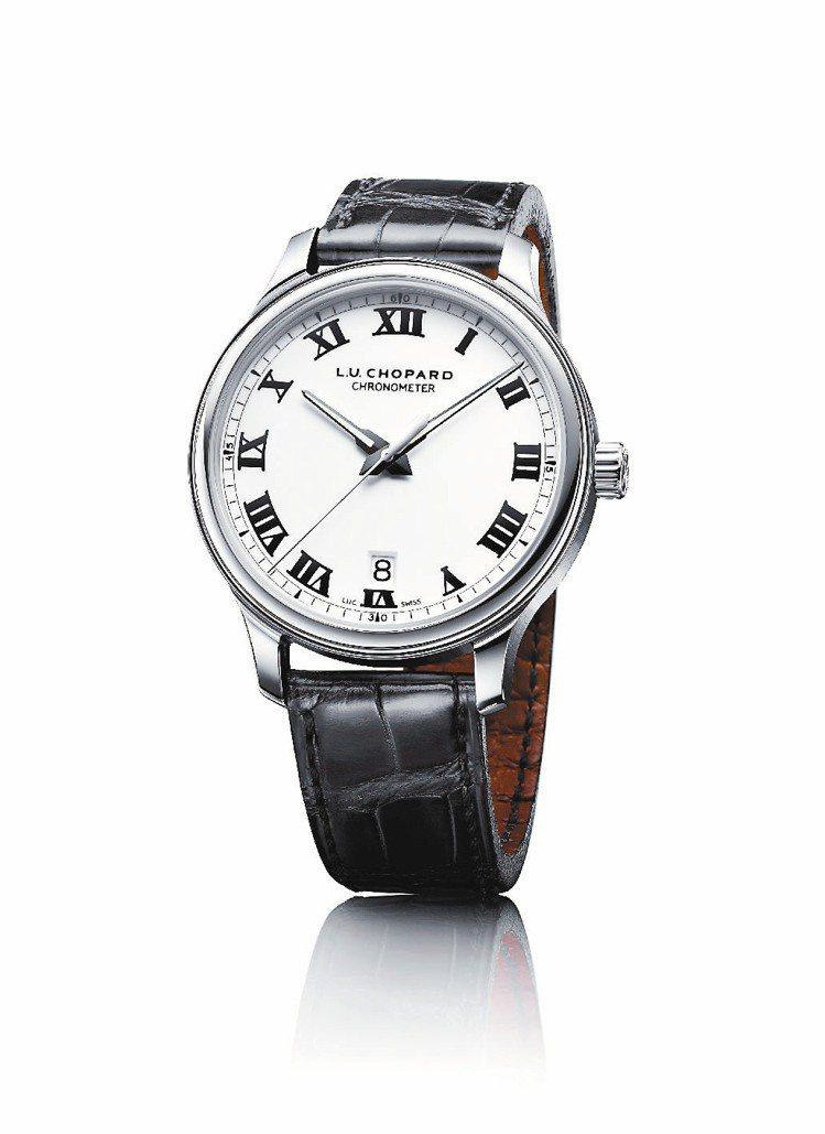 蕭邦L.U.C 1937腕表,精鋼殼搭配白色面盤、黑色鱷魚皮表帶,散發沉穩內斂的...