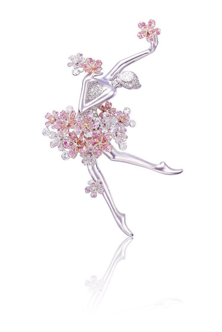 Anna Hu春之櫻芭蕾舞伶鑽石胸針,0.52 克拉白鑽、粉紅剛玉等,2,160...