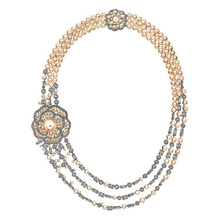 Pluie de Camelia項鍊,18K白金鑲嵌49顆總重14.8克拉的祖母...
