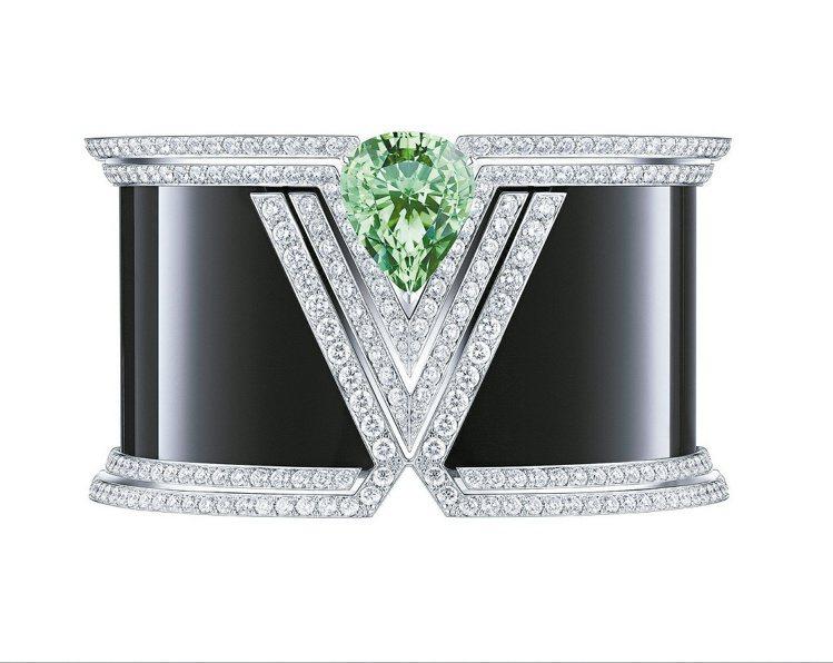 Acte V APOTHEOSIS手環,白K金鑲嵌縞瑪瑙、鑽石,沙弗來石榴石16...
