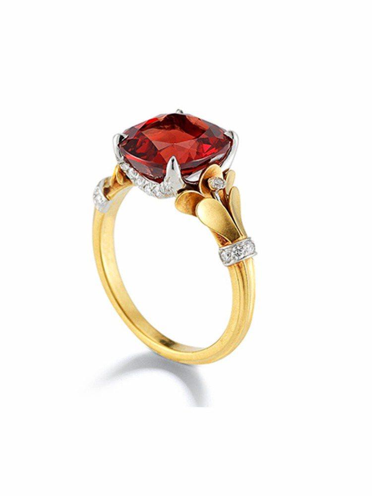 美國珠寶設計師McTeigue & McClelland的尖晶石戒指。圖/摘自網...