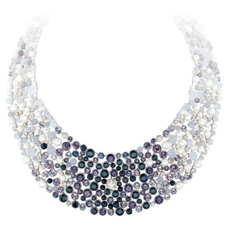 CHANEL Perle de Rosee 項鍊,鑲嵌鑽石、月光石、黑色及灰色尖...
