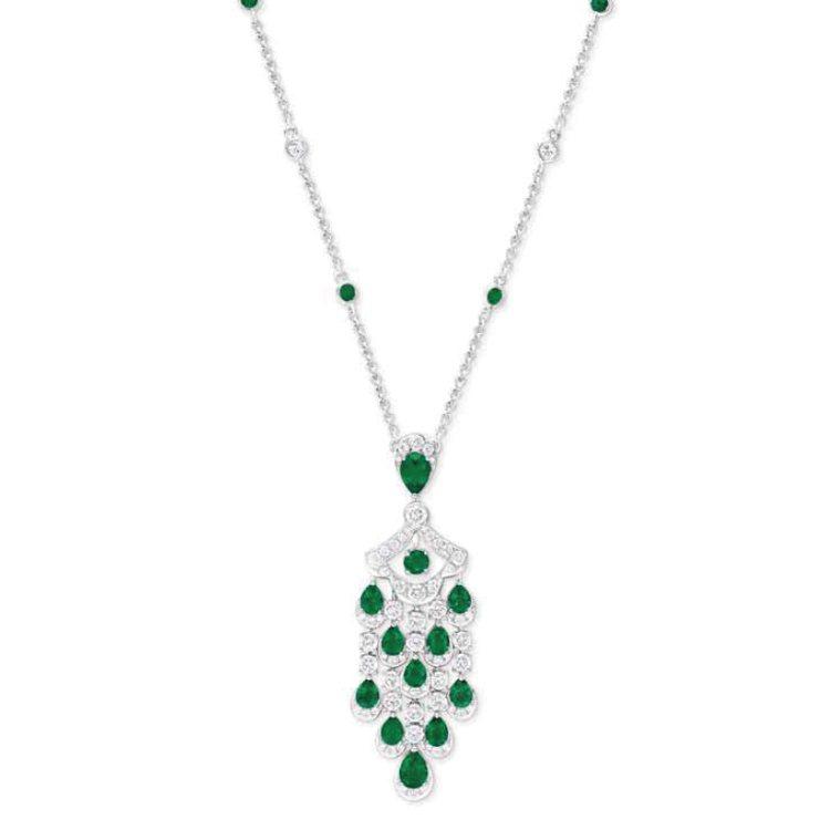 格拉夫Icon系列多形切割祖母綠和鑽石吊墜項鍊,鑽石共重3.08克拉,祖母綠共重...