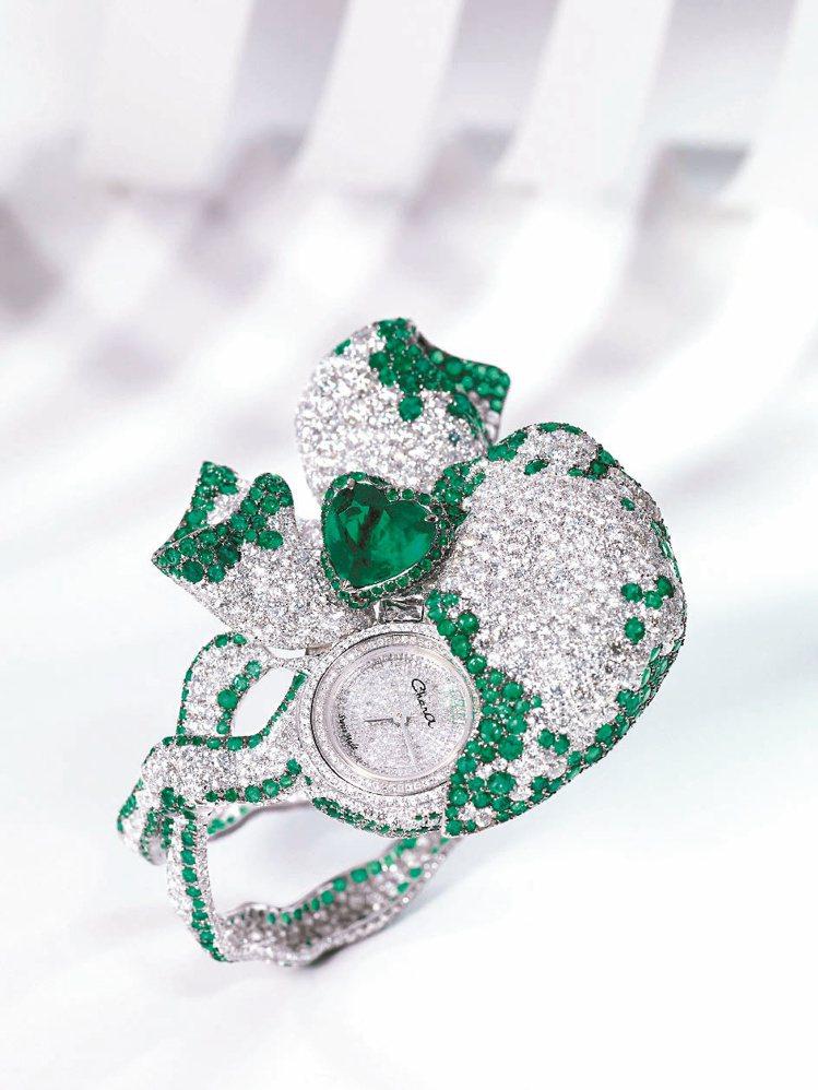 Chara Wen代表作,愛的珠寶腕表,飛揚的絲帶線條華麗優雅。圖/各業者提供