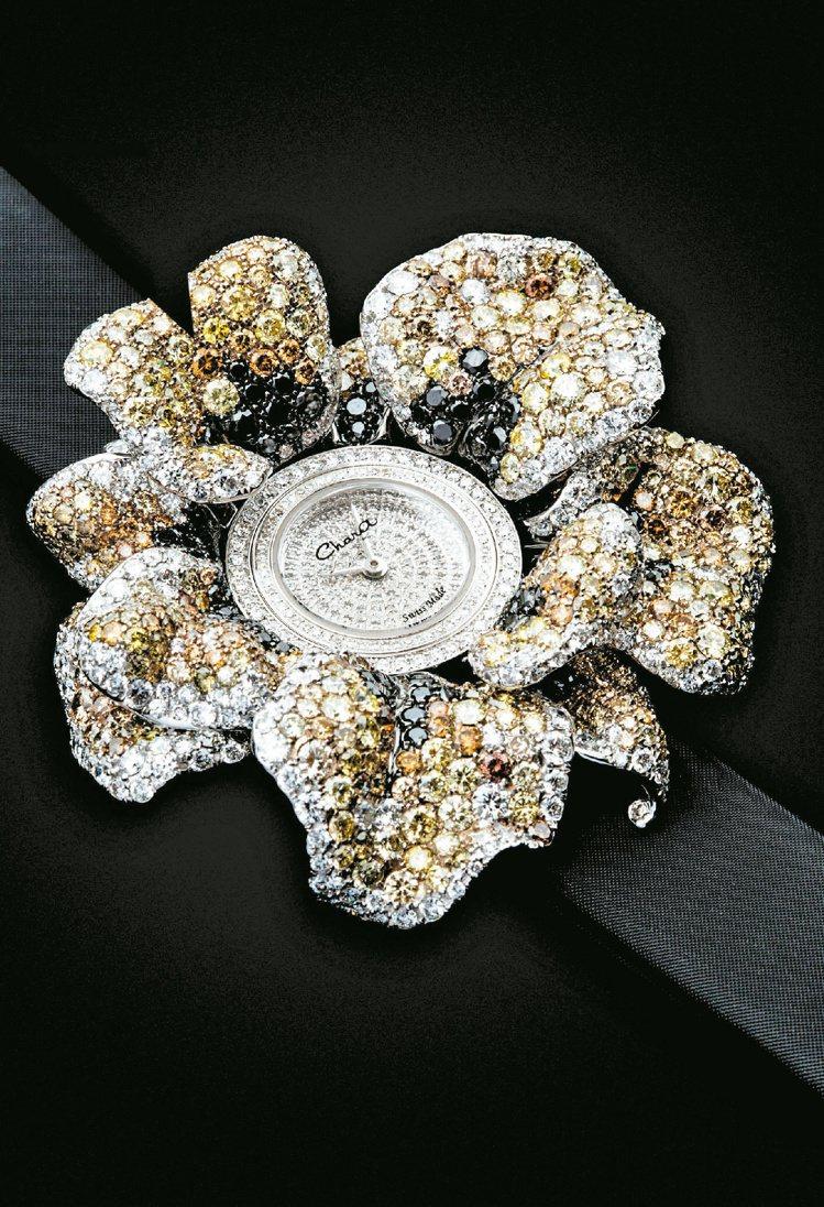 Chara Wen愛的禮物大地系列璀璨珠寶腕表,珠寶漸層暈染光彩動人。圖/各業者...