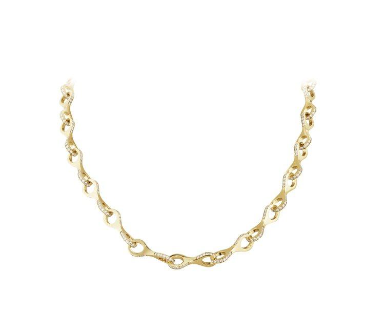 喬治傑生DUNE系列 18K黃金鑲鑽頸鍊,建議售價1,259,500 元。圖/喬...