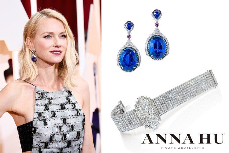 娜歐蜜華茲以 ANNA HU 藍寶 Art Deco 耳環、溫莎夫人鑽石手鍊搭配...
