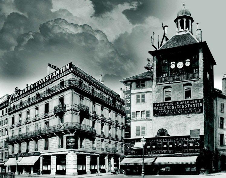 江詩丹頓第一家專賣店成立於1906年(左),從裡面望出可看到右前方的島塔鐘樓,後...