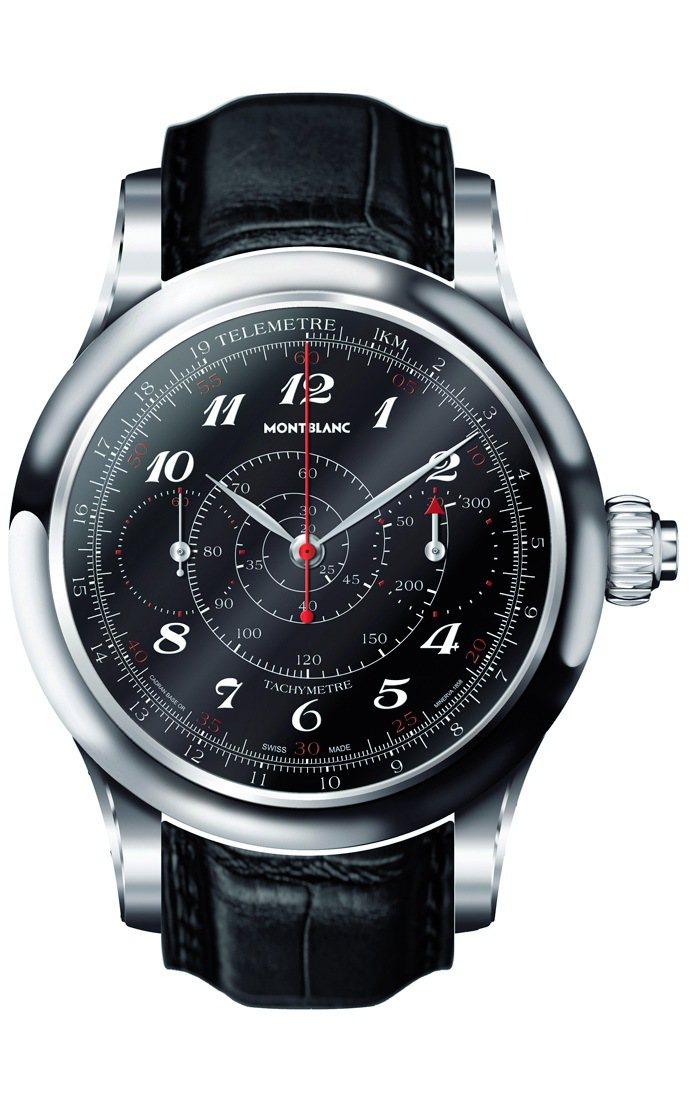 萬寶龍Villeret 1858系列18K白金計時腕表,手上鍊機芯,18k白金表...
