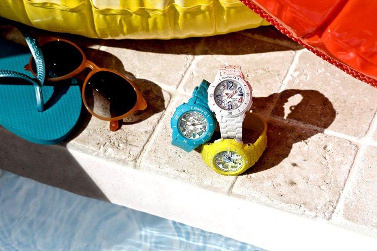 卡西歐的Baby-G今夏推出海洋風系列表款,搭載防水、潮汐等功能,結合繽紛飽和色...