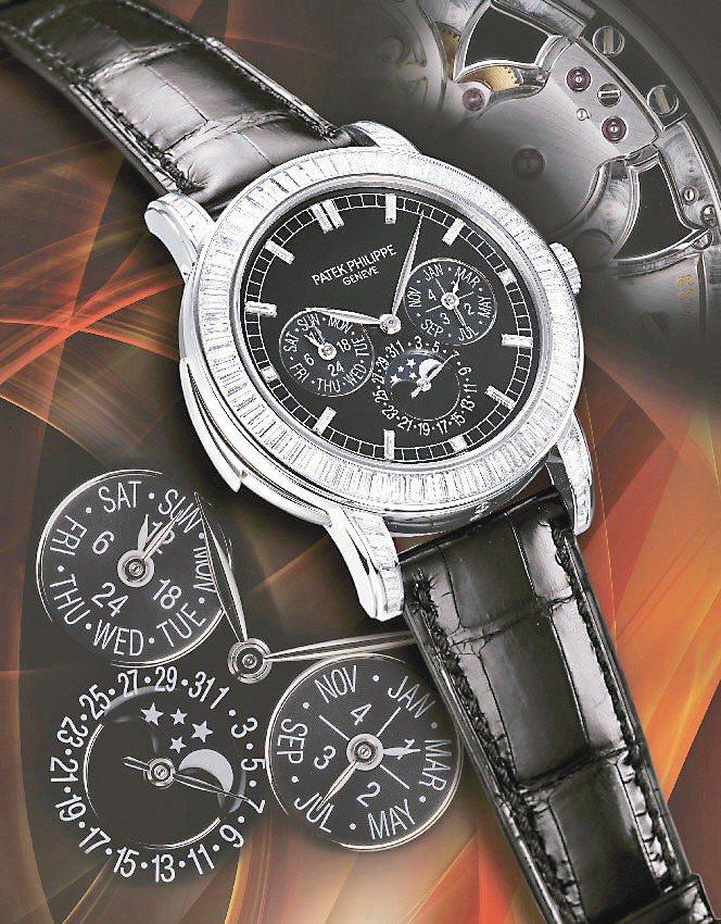 百達翡麗5073P型號鉑金鑲鑽三問萬年曆腕表,首次出現在拍賣會。圖/蘇富比提供