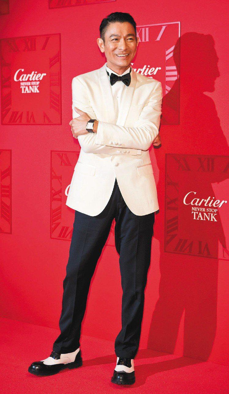 劉德華帥氣出席卡地亞Tank MC系列腕表發表會。圖卡地亞提供