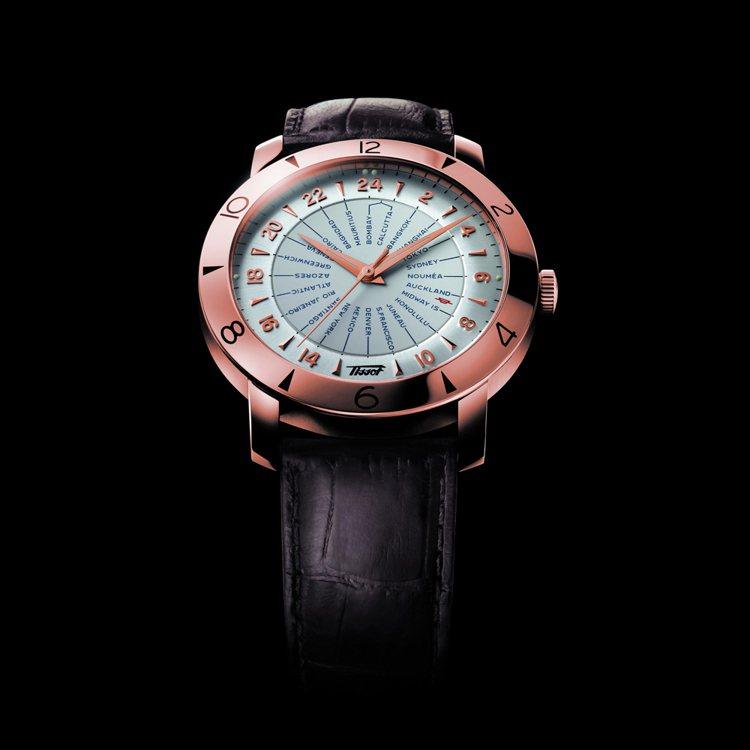 TISSOT 領航者系列160週年復刻18K玫瑰金紀念腕錶,建議售價NT$259...