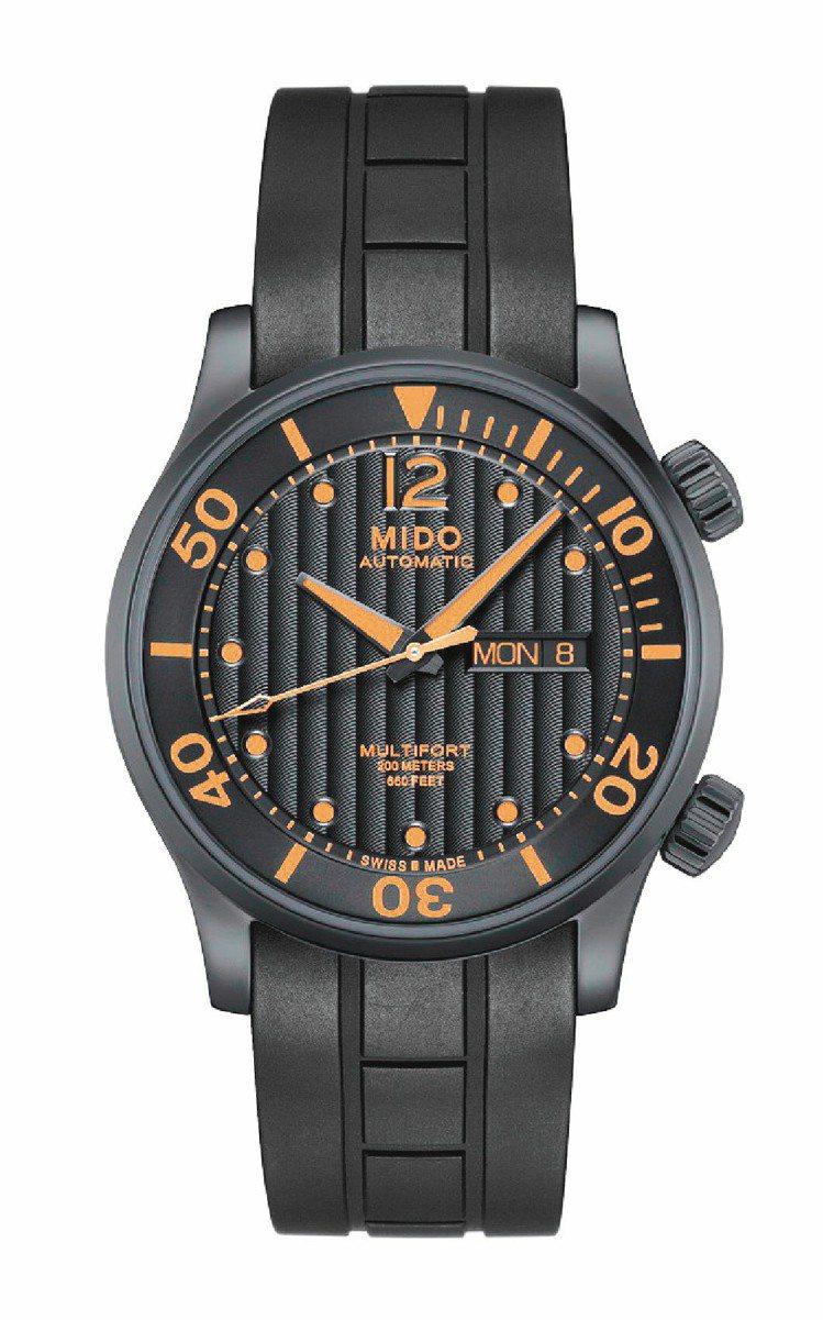 先鋒系列雙冠潛水表,自動上鍊機芯,42mm黑色PVD不鏽鋼表殼,搭配黑色橡膠表帶...