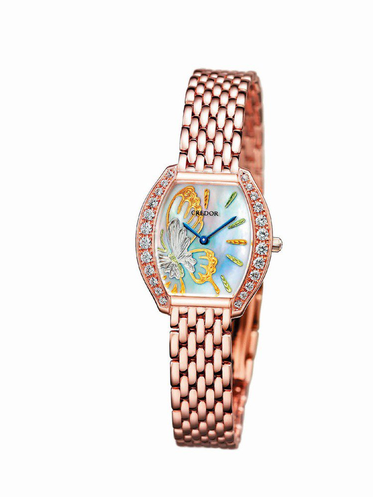 JURI 18K玫瑰金表,建議售價日圓241萬5000圓。圖/CREDOR提供