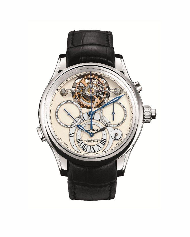 萬寶龍Villeret 1858系列大尺寸擺輪陀飛輪雙追針計時腕表,全球限量18...