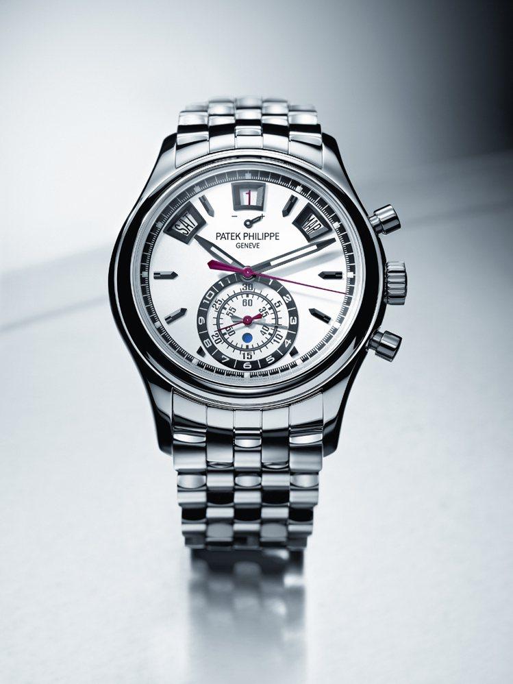 百達翡麗編號5960/1A-001 年曆計時碼表,採用鋼材質。售價157萬8,0...