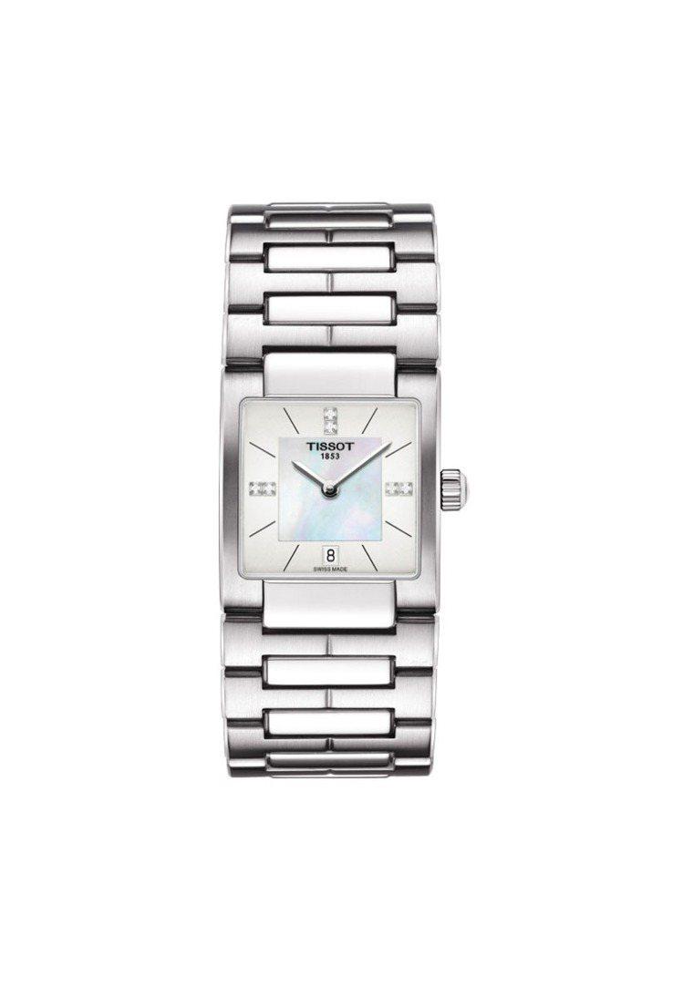 T02系列女裝腕表,時標鑲鑽,19,400元。圖/天梭提供