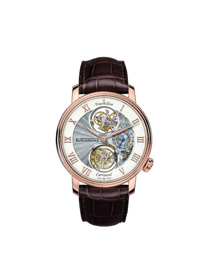 陀飛輪卡羅素腕表,機芯正面以鏤雕精密呈現內部零件,1,015萬8,000元。圖/...