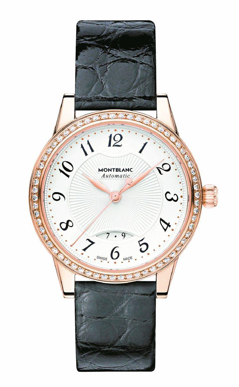 萬寶龍寶曦系列玫瑰金鑲鑽自動女仕腕表,33萬8,300元。圖/萬寶龍提供