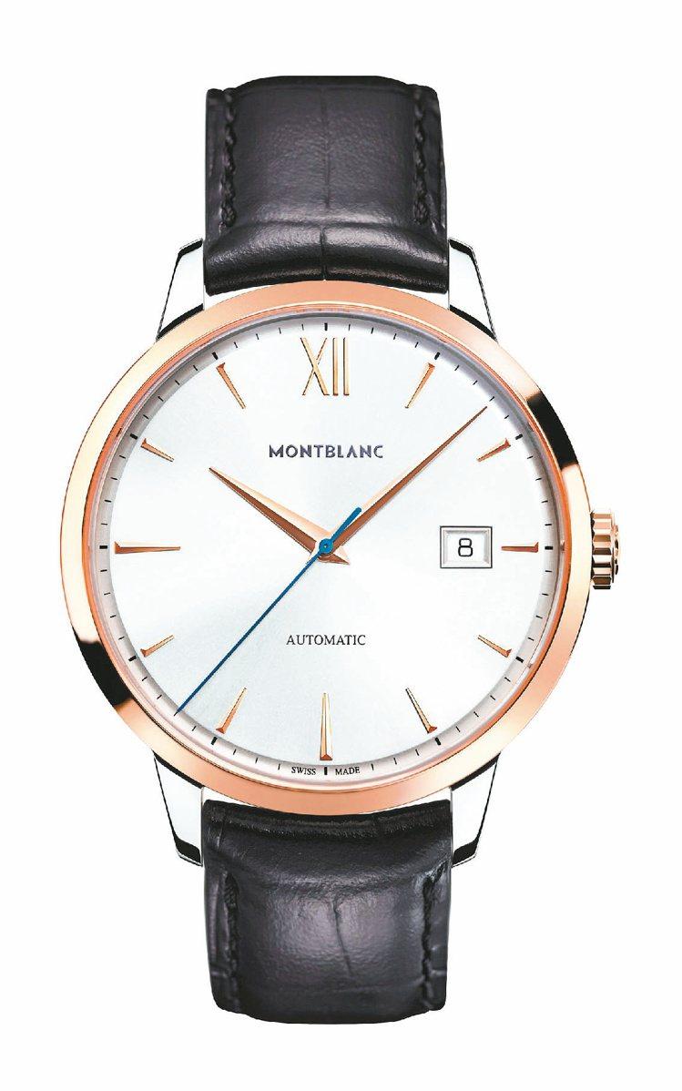 萬寶龍大師傑作傳承系列玫瑰金雙色自動腕表,14萬1,300元。圖/萬寶龍提供