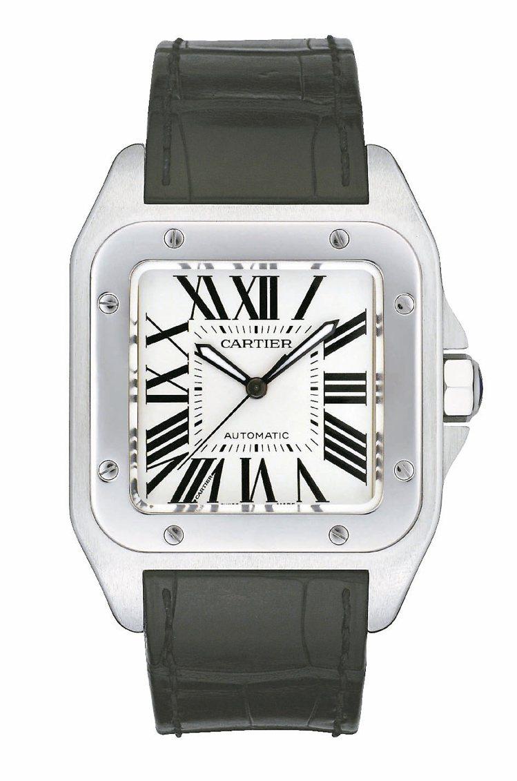 卡地亞Santos 100系列腕表大型款,精鋼表殼搭載自動機芯,22萬6,000...