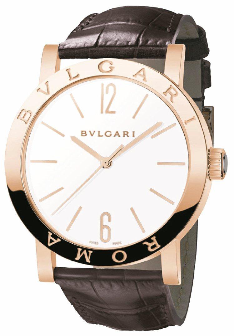 寶格麗BVLGARI ROMA自動腕表,玫瑰金表殼,白色漆面拋光面盤,72小時動...