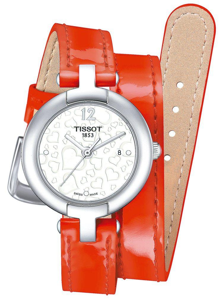 Pinky By Tissot粉紅佳人腕錶情人節特別款,8,700元。圖/天梭提...