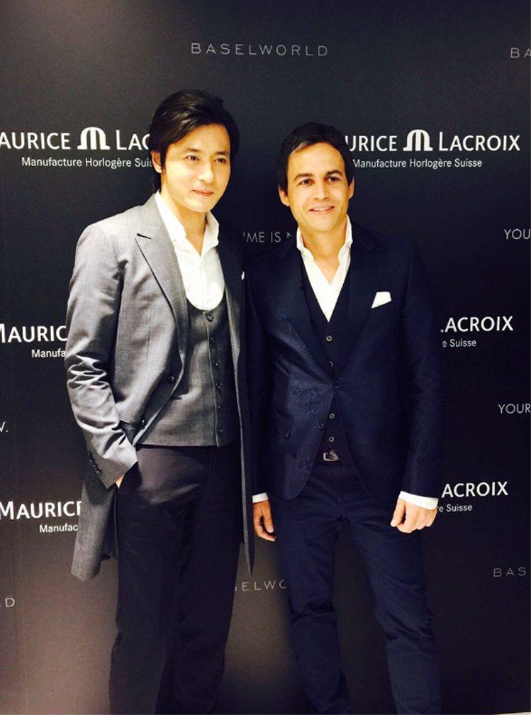 韓星張東健(左)成為艾美表代言人,並應邀出席品牌在巴塞爾表展的活動。圖/艾美表提...