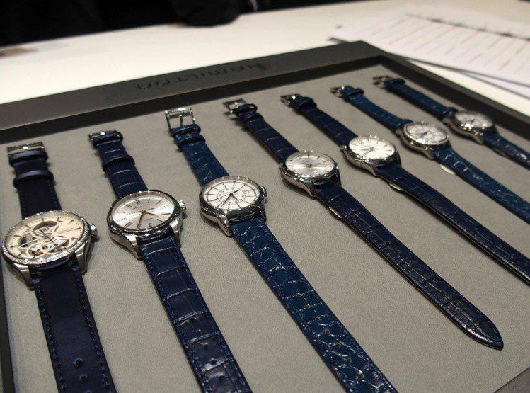 漢米爾頓今年推出搭配不同層次藍色表帶的腕表,是表壇藍色風潮的縮影。記者祁玲/攝影