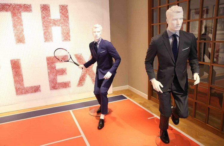 TOMMY HILFIGER以網球風格展示Flex系列。圖/TOMMY HILF...