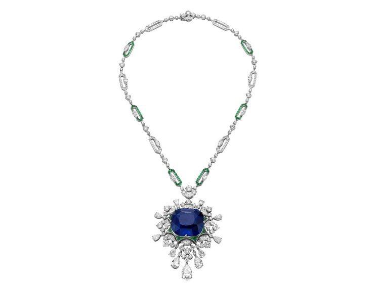 義大利花園Giardini系列愛情天堂頂級藍寶石項鍊,中央為約125.35克拉頂...