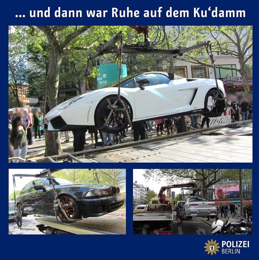 柏林警察單位與民眾分享取締非法改裝車的戰利品。 POLIZEI BERLIN