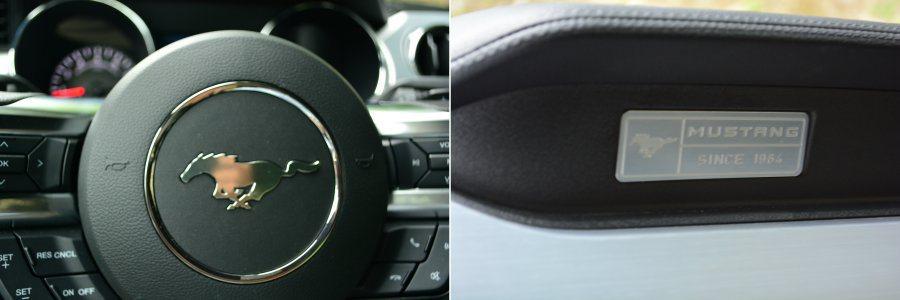 方向盤上精典「馬」廠徽,以及副駕駛座前方的銘牌象徵其經典地味。 記者趙惠群/攝影