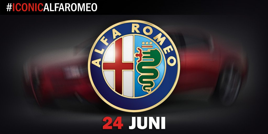 全新 Giulia中型房車的預告圖。 Alfa Romeo提供