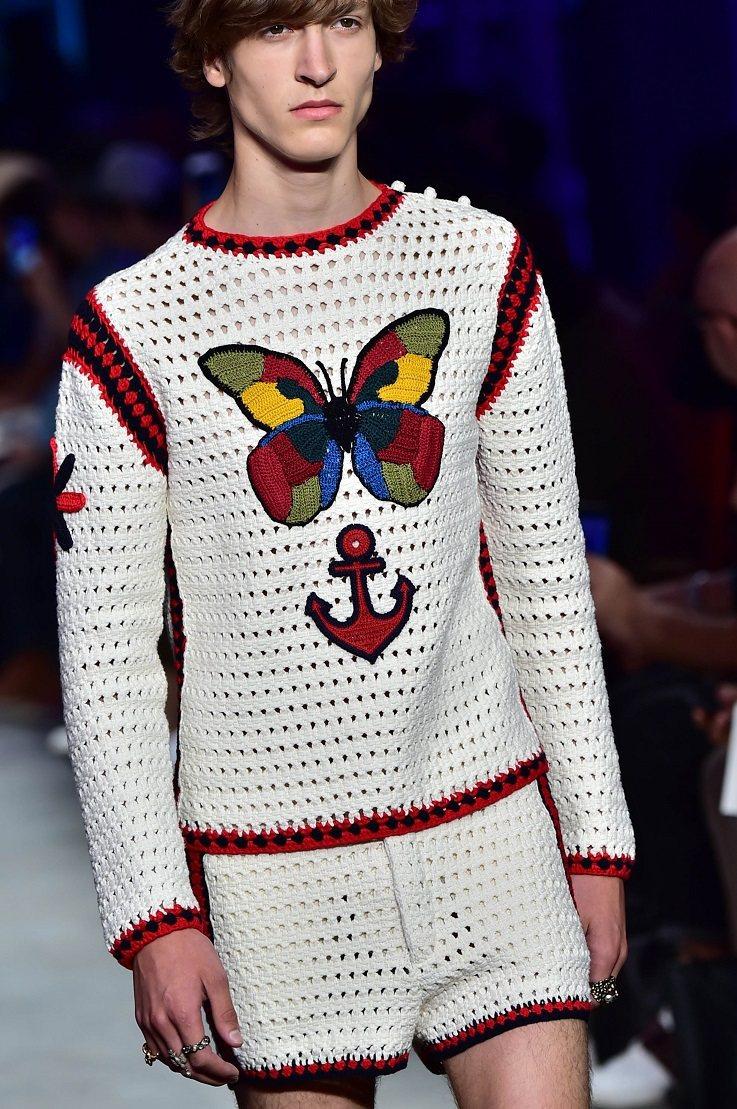 柔美的花蝴蝶,是GUCCI男裝的重要元素。圖/法新社