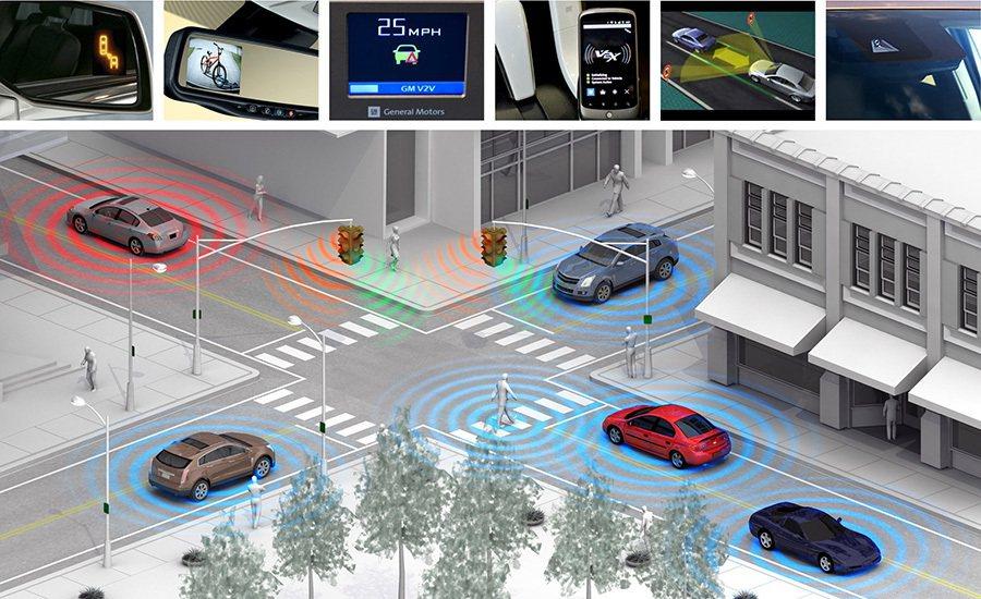 未來城市路口將架設許多感應與攝影器材與自動車連線與溝通。 GM提供