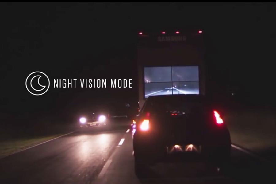 有了夜視功能,後方駕駛也能清楚看見貨車前方的路況。 Samsung提供