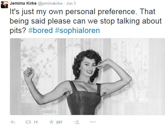 Jemima Kirke在PO出昔日蘇菲雅羅蘭的露腋毛照,要大家不必大驚小怪。圖...