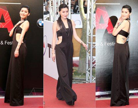 管罄一身性感禮服出席第26屆金曲星光大道,造型走黑色風,身材有夠讚!她是是本屆金曲獎觀禮嘉賓。