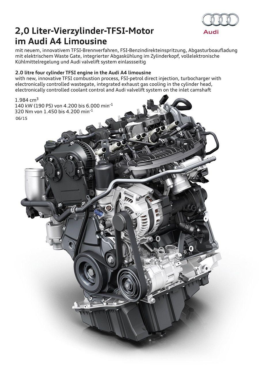 全新2.0 TFSI四缸汽油擎。 Audi提供