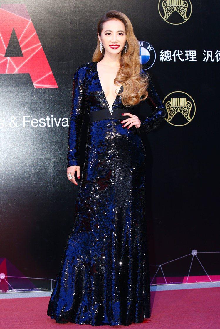 蔡依林穿 Lanvin 亮片禮服。記者王騰毅/攝影