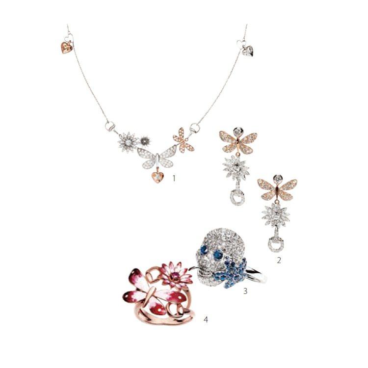 1. Gucci Flora系列花朵項鍊。2. Gucci Flora系列花...