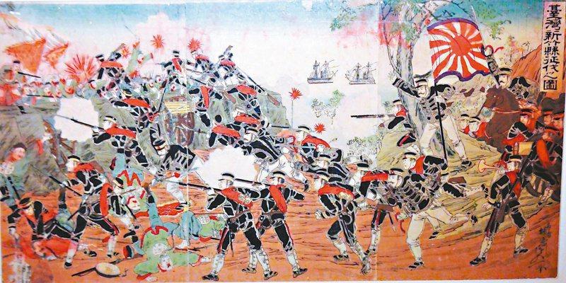 乙未抗日錦繪圖畫,這幅描繪了新竹戰役的慘烈。 記者羅緗綸/翻攝