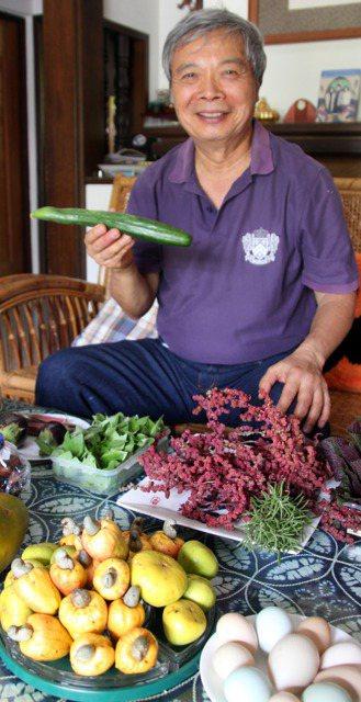 陳世雄自家農場生產各種有機蔬果,還有一株二十多年的腰果樹,腰果黃色果托(見圖)可...