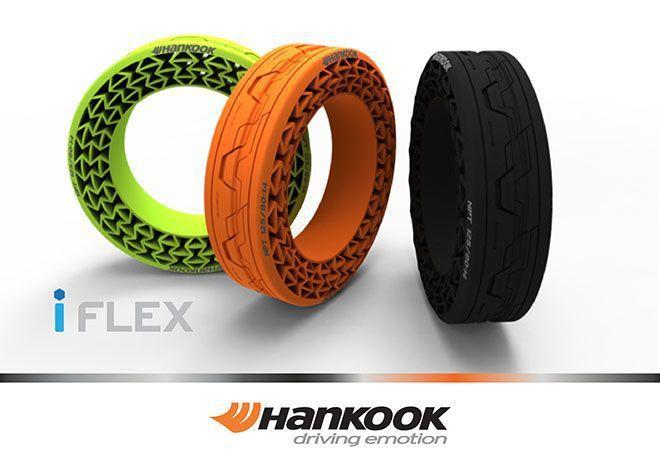 韓國胎Hankook推出i-Flex airless擁有一體式設計比傳輪胎輕上許多,且不需充氣。 摘自Hankook